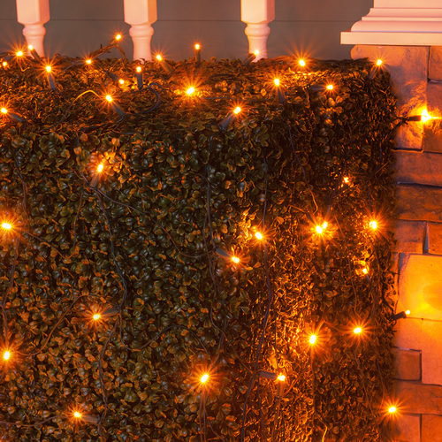 4' x 6' Amber 5mm LED Christmas Net Lights, 100 Lights on Green Wire