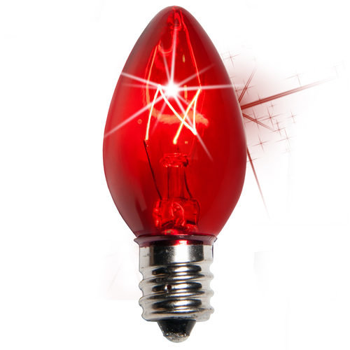 25 - C7 Transparent Twinkle Red Color  Bulbs, 7 Watt Light Bulbs