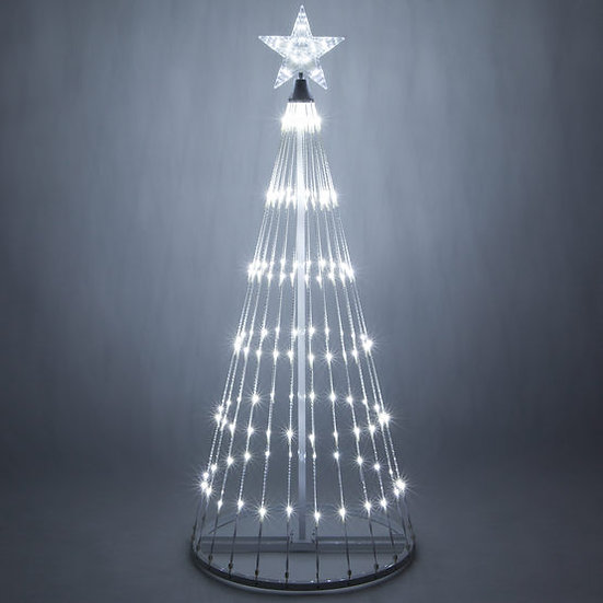 6 Foot Tall Cool White LED Animated Light Show Tree