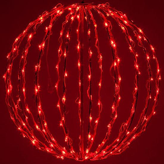 Red LED Light Ball, Fold Flat Red Frame