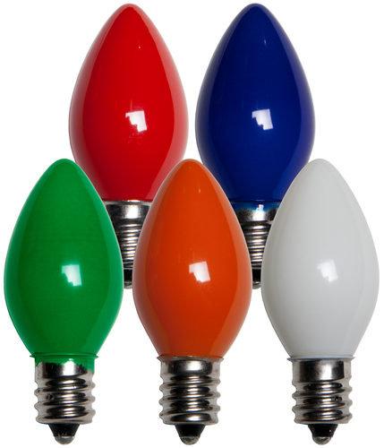 25 - C7 Opaque Multi Color  Bulbs, 7 Watt Light Bulbs