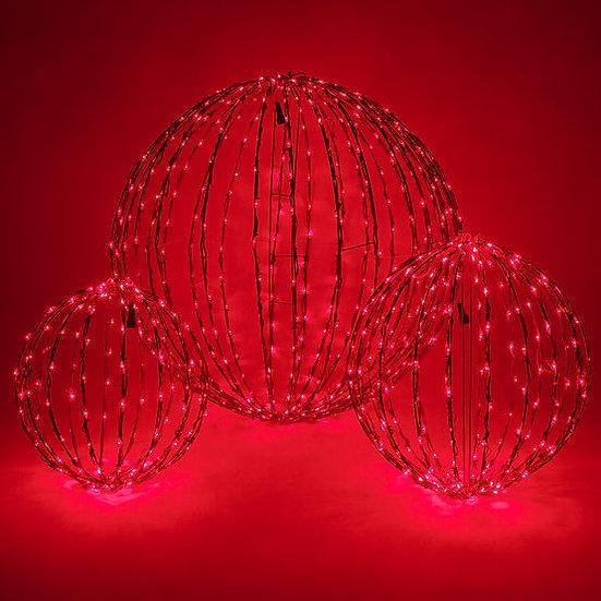 LED Light Ball, Fold Flat Red Frame, Red