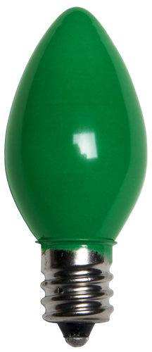 25 - C7 Opaque Green Color  Bulbs, 7 Watt Light Bulbs