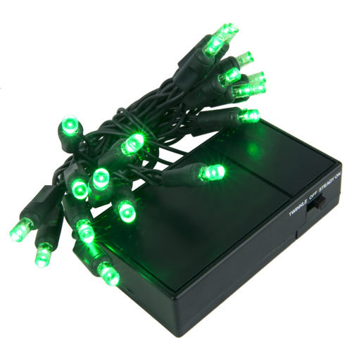 Green Battery Operated 5mm LED Lights, Green Wire