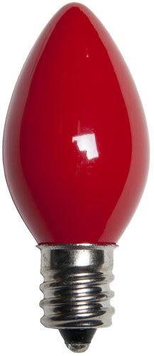 25 - C7 Opaque Red Color  Bulbs, 7 Watt Light Bulbs
