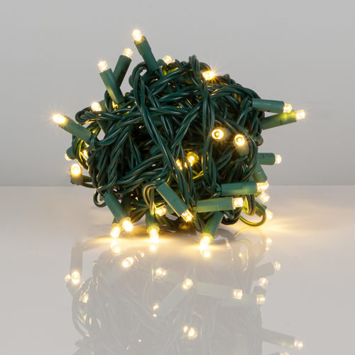 "Kringle Traditions 5mm Warm White LED Christmas Lights, Green Wire, 6"" Spacing, Balled Set"