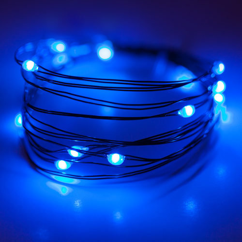 Blue Battery Operated Fairy LED Lights, Green Wire