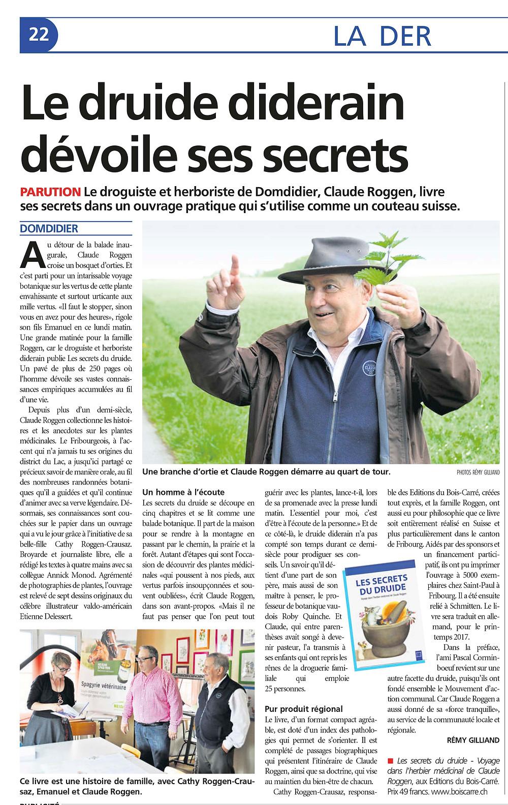 Article paru dans La Broye - jeudi 12 mai 2016