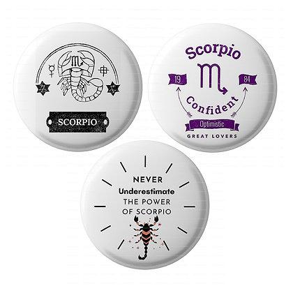 Lastwave Horoscope Badge Collection ,Pin Back Badge (Pack of 3,58mm, HL-11)