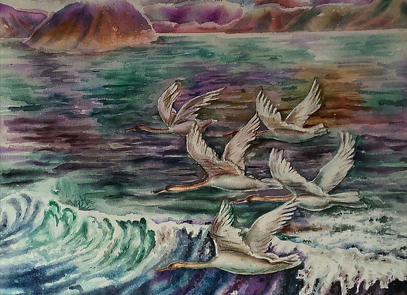 Birds with waves
