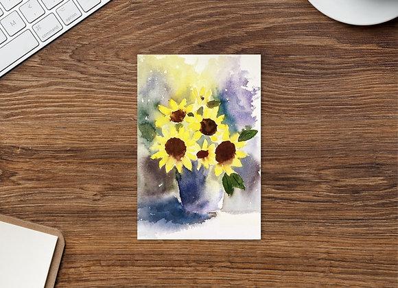 Sunflowers in vase : Postcard