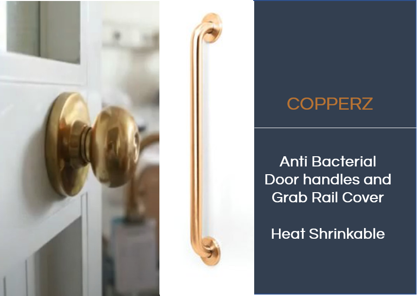 COPPERZ Antimicrobial  Door handle/Grab Rail Cover