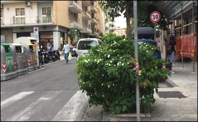 Figura 6 - eliminare barriere architettoniche come pali, sporgenze di marciapiedi e spostare piante che ostacolano il percorso dei ciclisti e pedoni, esempio foto via M.Piscicelli – Napoli
