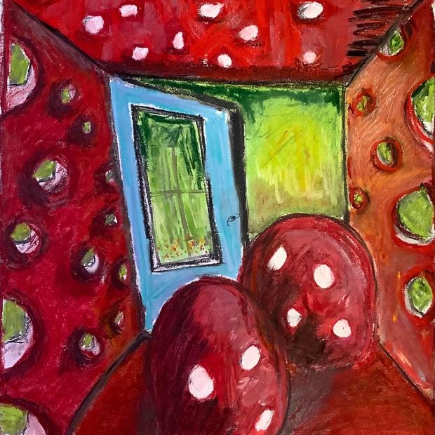Jocelyne Danis, L'atelier rouge, 2021