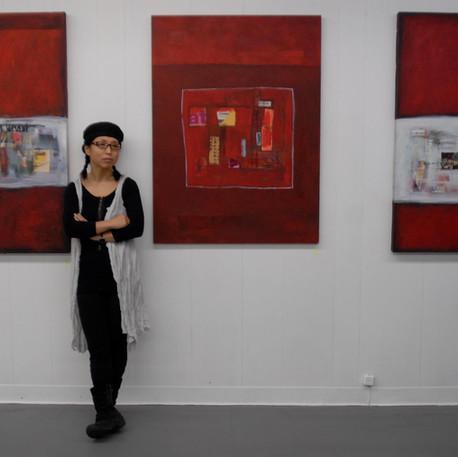 Yong Sook Kim-Lambert, Artist with RedLandscape I, II, III, non daté