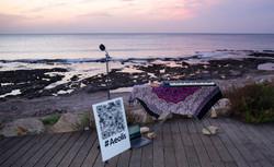 Aeolis setup on the beach in Haifa, creating live beach soundscape music.