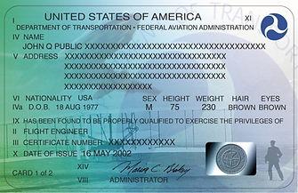 U.S. Pilot Certificate (front)