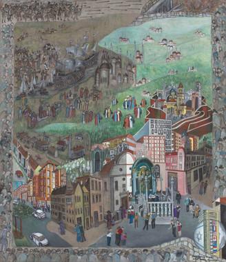 A Jewish Historical Arrival in Alba Iulia, Textured Oil on Canvas, 102cm, 2020.jpg