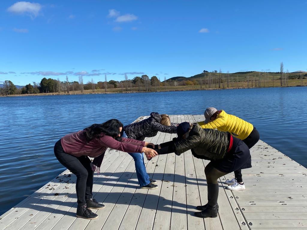 Postural alignment yoga on the lake