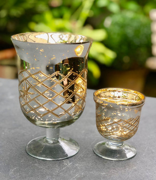 Gold Mercury Glass Footed Vases