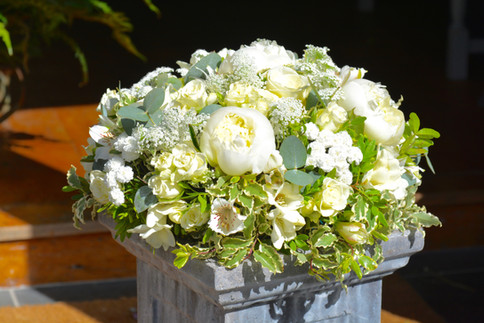 Funeral Tribute Posy Pad of white and green flowers