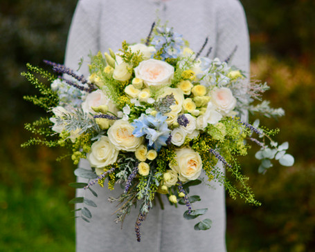 Yellow & Blue Bridal Bouquet