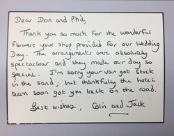 Thank you note from Jack & Colin