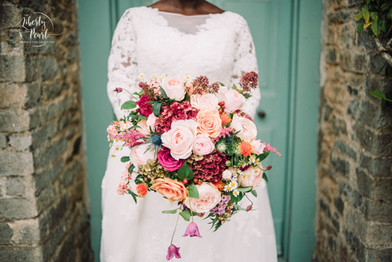 Autumnal Peachy Orange Pink Bridal Bouquet