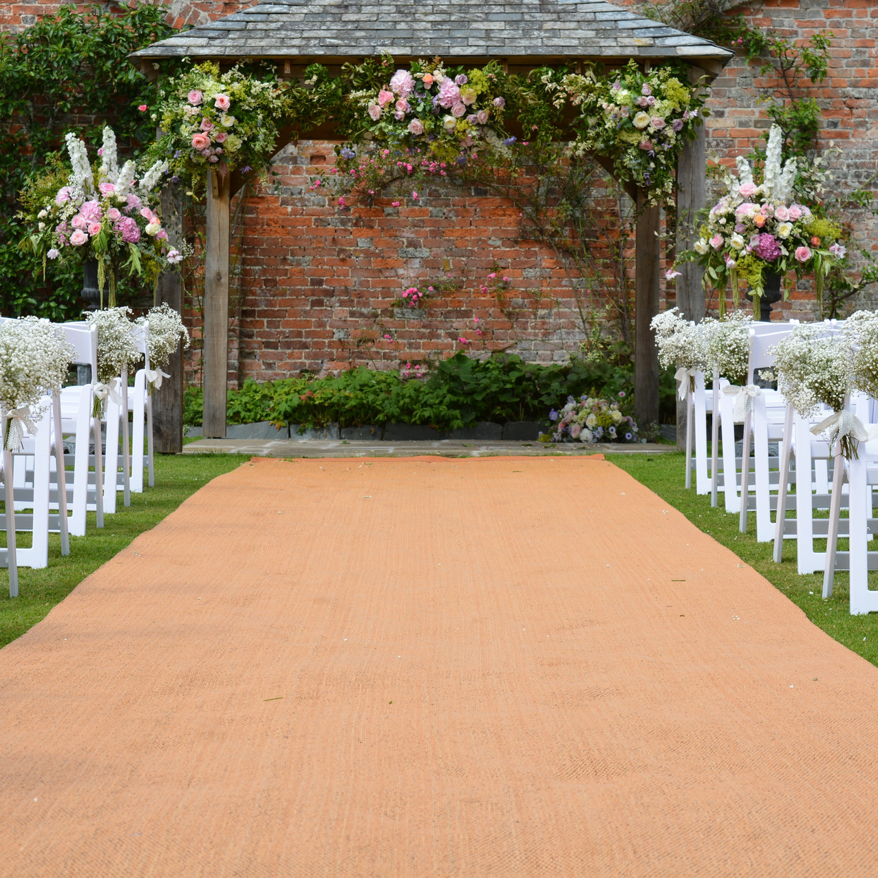 Wedding Ceremony Pergola & Aisle at Kingston House, South Devon - Blue Geranium Florist Totnes Devon