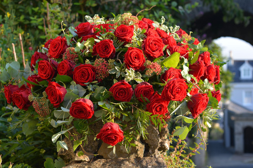 Formal Red Rose Coffin Spray