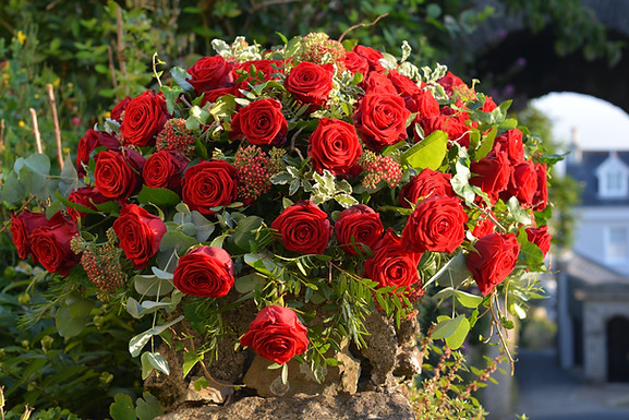 Formal Red Rose Coffin Spray