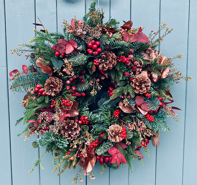 Christmas Wreath - green, red, gold