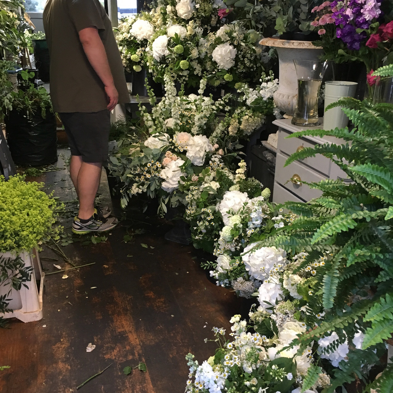 Wedding flowers prior to departure from the shop