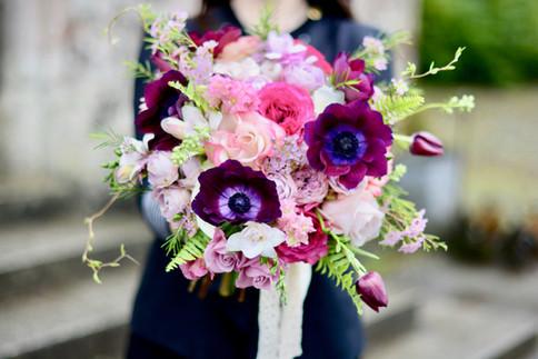 Burgundy & Pink Bridal Bouquet