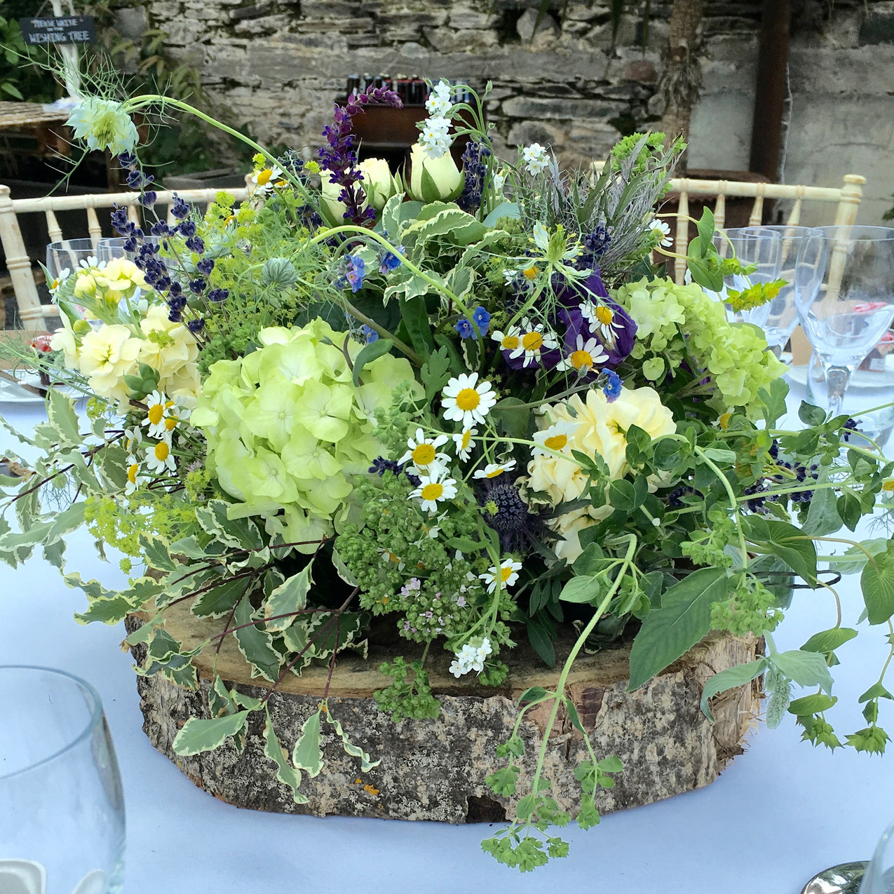 Woodland table flowers at Anran Barn