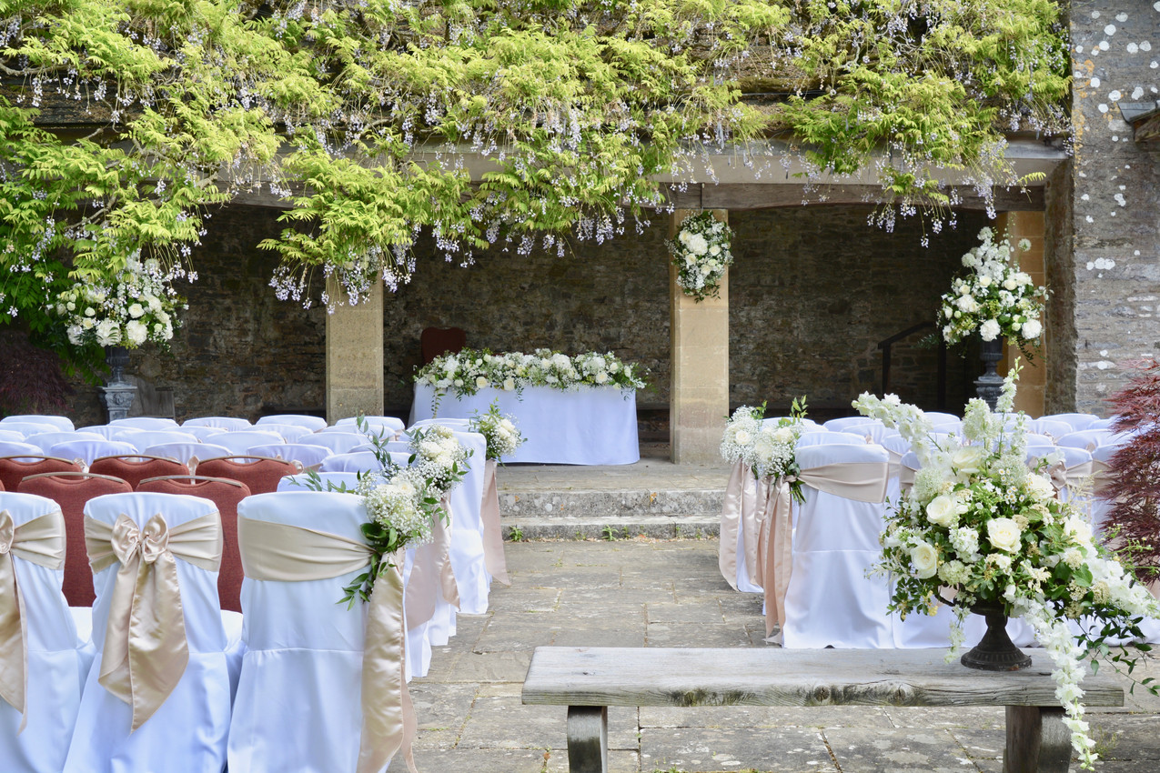 The outside wedding ceremony space in the private garden at Dartington Hall