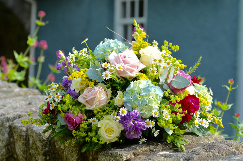 Bright & Colourful Flowers - Funeral Tribute Posy Pad
