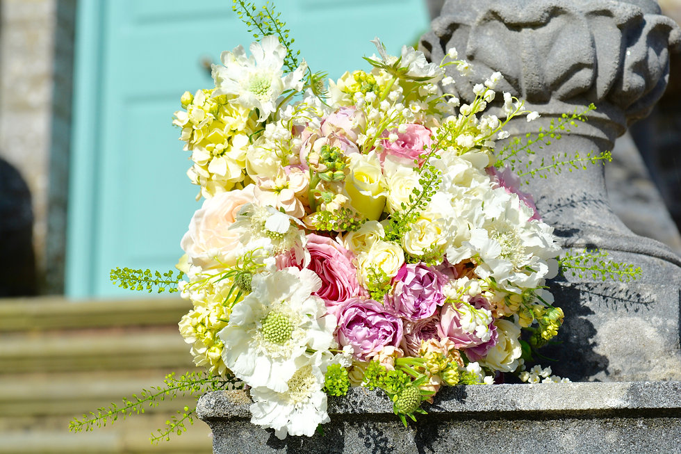 bridal bouquet of pink and cream flowers