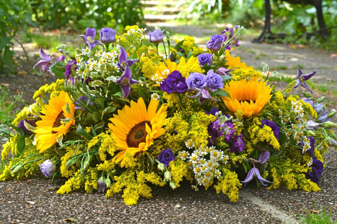 Yellow & Purple Flowers Coffin Spray