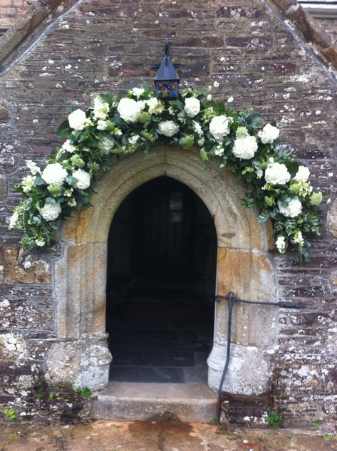 Floral Arch above Church Entrance