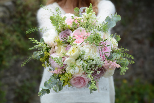Bridal Bouquet of Pink & Cream Flowers