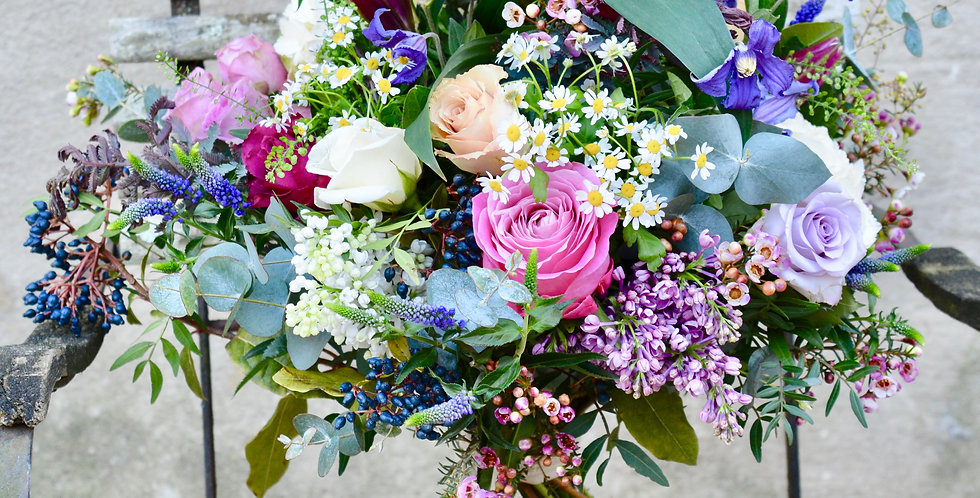 The Dartington hand-tied bouquet of mixed seasonal flowers and foliage