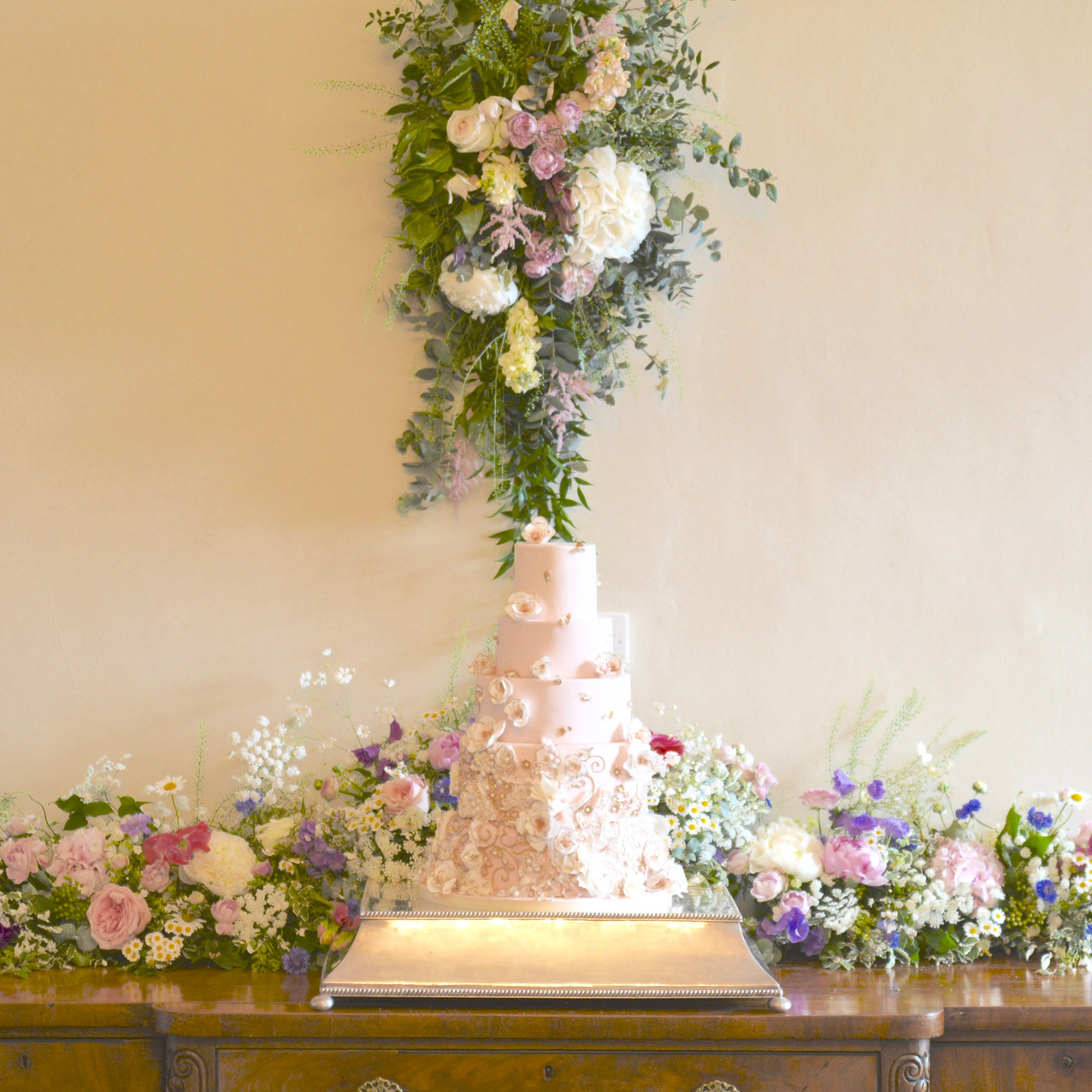 Flowers for the cake stand in the Marble Hall at Kingston House - cake provided by Kate Burt - http://www.kateburtcakes.co.uk/