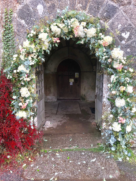 Floral Arch around Church Entrance