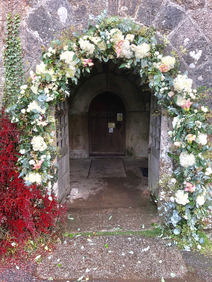 Floral Arch around Church Entrance