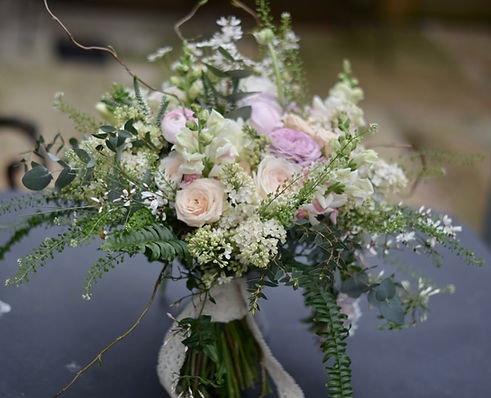 Mixed pink and lush green bouquet