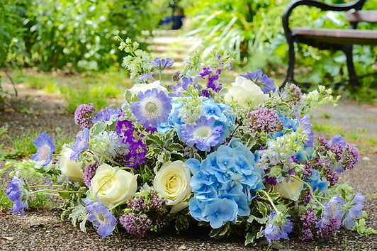 Cottage Garden Coffin Spray of Summer Flowers