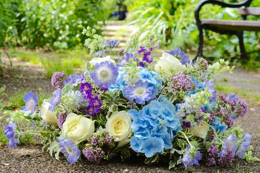 Cottage Garden Coffin Spray of Summer Flowers