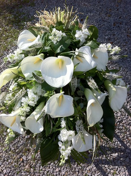 Classical White Funeral Tribute Sheaf of Arum Lilies