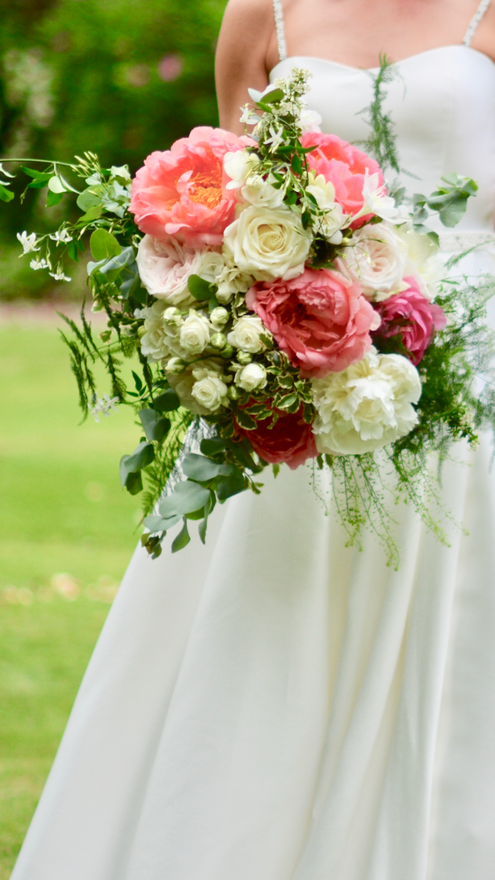 Close up image of bridal bouquet - large bridal bouquet of ivory roses, Duchess Nemo peonies, blush O-Hara roses, ivory spray roses, spirea, thylespi, cinerea eucalyptus, asparagus fern, jasmine, pittosporum with contrasting Coral Sunset peonies